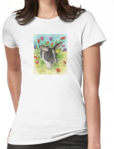 Bunny Rabbit Spring Tulips Cathy Peek Animals Womens Fitted T-Shirt