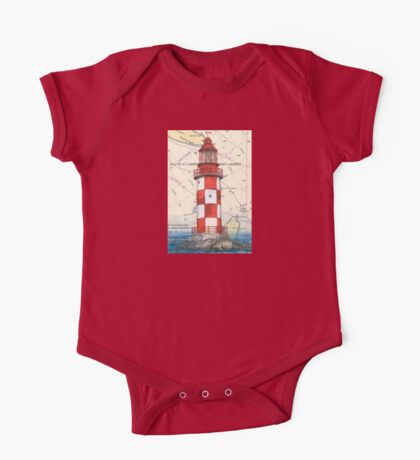 Cape North Race Lighthouse NS Canada Map Cathy Peek One Piece - Short Sleeve