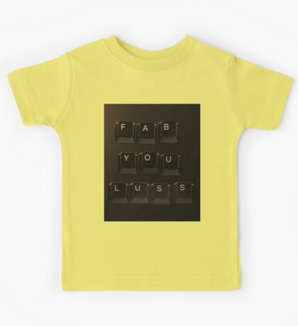 Keyboard lettering of FABULOUS but not quite... Kids Tee