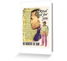 Vintage poster - Rizal died for you Greeting Card