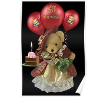 ㋡ HAPPY BIRTHDAY TEDDY BEAR BEARING GIFTS CARD/PICTURE  ㋡ Poster
