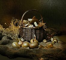 Autumn mushrooms in a basket by VallaV
