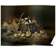 Autumn mushrooms in a basket Poster