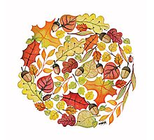 Circle with watercolor autumn leaves Photographic Print