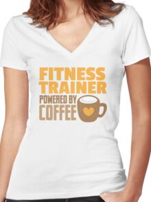 Fitness trainer powered by coffee Women's Fitted V-Neck T-Shirt