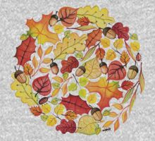 Circle with watercolor autumn leaves Kids Tee