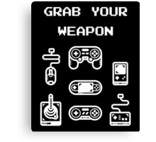 Classic / Old-School Video Game Controllers - Grab your Weapon Canvas Print
