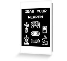 Classic / Old-School Video Game Controllers - Grab your Weapon Greeting Card