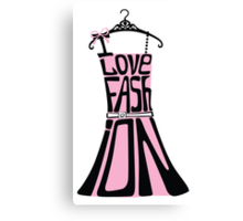 Silhouette of  woman dress from words I love Fashion Canvas Print