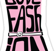 Silhouette of  woman dress from words I love Fashion Sticker