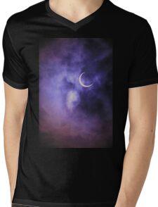 Purple Sky, Crescent Moon Mens V-Neck T-Shirt