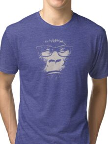 Hipster Gorilla With Glasses Tri-blend T-Shirt