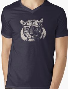 Hipster Tiger With Glasses Mens V-Neck T-Shirt