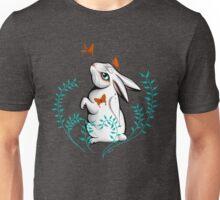 White rabbit with moths Unisex T-Shirt