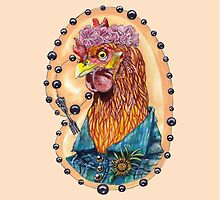 red fowl with flower crown and black fork rosary by HiddenStash