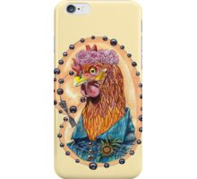 red fowl with flower crown and black fork rosary iPhone Case/Skin
