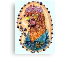 red fowl with flower crown and black fork rosary Canvas Print