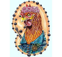 red fowl with flower crown and black fork rosary Photographic Print