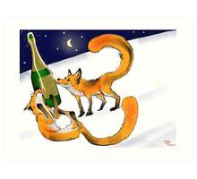 Foxy New Years Celebration Art Print