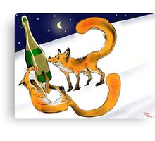 Foxy New Years Celebration Canvas Print