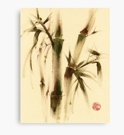 """Awareness"" Sumi-e bamboo painting on paper Canvas Print"