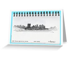 New York City skyline in November 2000 from the Staten Island Ferry.* Greeting Card