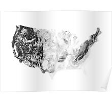 United States mapped by sunset shadows Poster