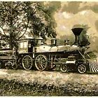 """A digital painting of the Locomotive """"Sabine"""" of Morgan's Louisiana & Texas line by Dennis Melling"""