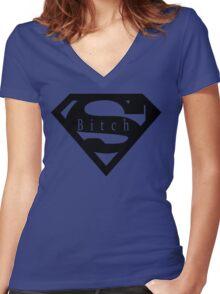 Super Bitch Stylish Women t shirt top Women's Fitted V-Neck T-Shirt