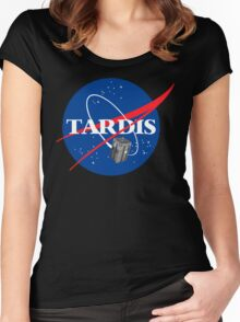Tardis NASA T Shirt Parody Dr Dalek Who Doctor Space Time BBC Tenth Police Box Women's Fitted Scoop T-Shirt