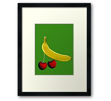 Funny banana and dangly cherries Framed Print