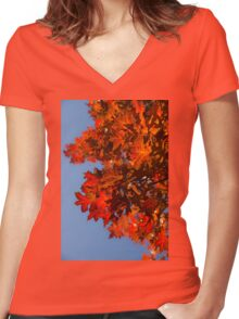 Radiant Reds - Oak Leaves and Brilliant Blue Sky Women's Fitted V-Neck T-Shirt