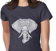 White Elephant Ornate Tribal Tattoo Design Womens Fitted T-Shirt
