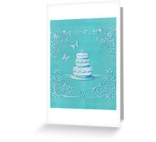 Blue and white wedding cake Greeting Card