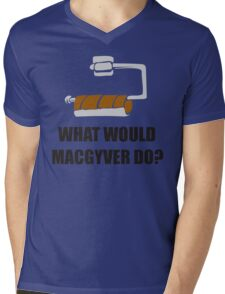 WHAT WOULD MACGYVER DO TSHIRT Funny 80s TV Show TEE Dean Richard Anderson Cool Mens V-Neck T-Shirt