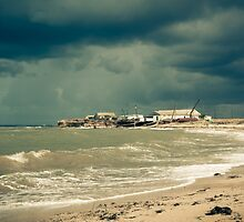 fisherman shack with stormy skies. Crimea. by bashta