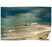 fisherman shack with stormy skies. Crimea. Poster
