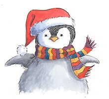 Cute Christmas penguin chick by lizblackdowding