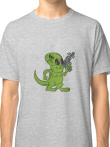 Alien Dinosaur Holding Ray Gun Cartoon Classic T-Shirt