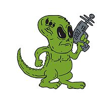 Alien Dinosaur Holding Ray Gun Cartoon by patrimonio