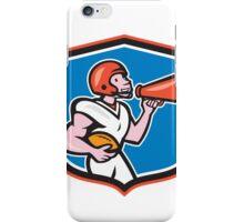 American Football Quarterback Bullhorn Shield Cartoon iPhone Case/Skin