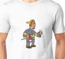 Fireman Firefighter Axe Thumbs Up Cartoon Unisex T-Shirt