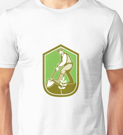 Gardener Landscaper Digging Shovel Cartoon Unisex T-Shirt