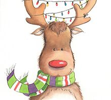 Cute Christmas Rudolph by lizblackdowding