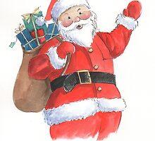 Cute Santa Christmas character by lizblackdowding