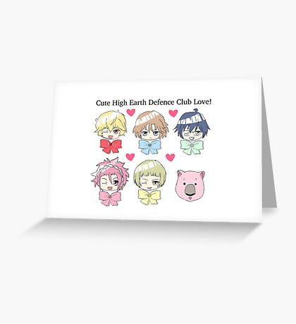 Cute High Earth Defence Club Love! Set Greeting Card