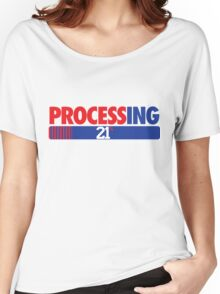 Processing 21% (Small Number Red/Blue) Women's Relaxed Fit T-Shirt