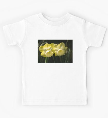 Sunny Pair - Glowing Mellow Yellow Narcissus Blooms Kids Tee