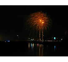 Orange fireworks over the river Photographic Print