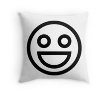 The Internet Generation Collection - Wide Smile Emoji with Open Eyes - Black and White Pattern Throw Pillow